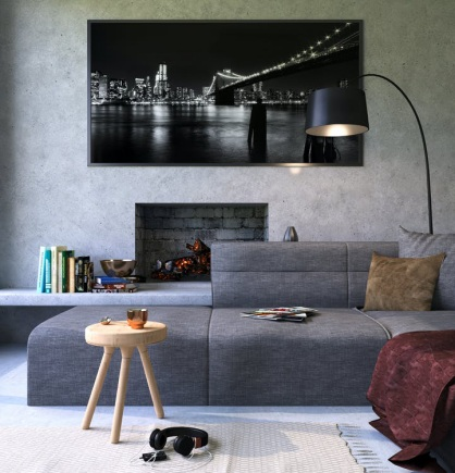 A living area with a gray theme