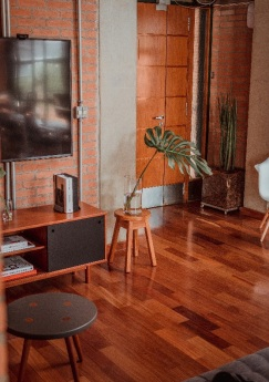 Hardwood flooring in the living room of a home