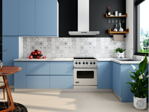 Kitchen with blue counters